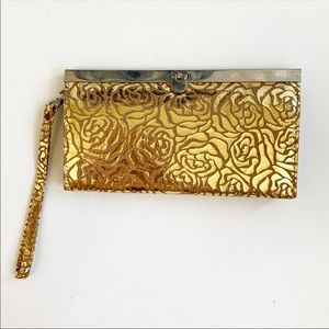 NWOT. Gold floral decal clasp clutch wallet